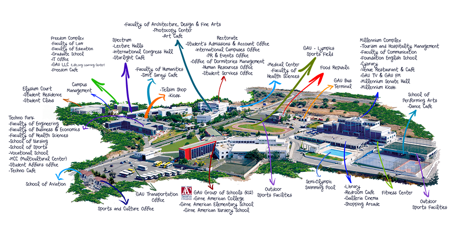 Campus Maps Girne American University - American university map