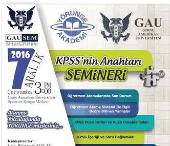 "GAUSEM INVITES YOU TO ""THE KEY OF KPSS"" SEMINAR TO UNLOCK THE KPSS"