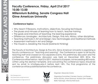 Teaching and Learning Friday April 21st 2017