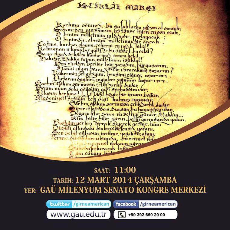 İstiklal Marşının Kabulü 93. Yıl ve Mehmet Akif Ersoy'u Anma Töreni
