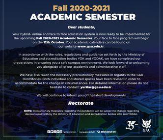 Fall 2020-2021 Academic Semester
